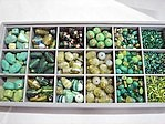 bead kits - 4605 - mix glass bead kit - green x 12 sets